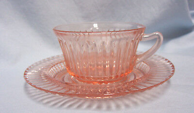 CUP & SAUCER Pink Depression Anchor Hocking Queen Mary Ribbed Pointed Handle