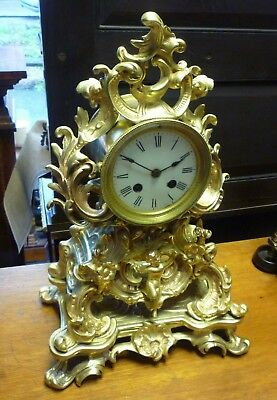 Good Antique French Rococo Brass Mantle Clock Good Working Order