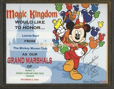 Walt Disney World 100th Birthday Parade Original Mouseketeer Magic Kingdom Award