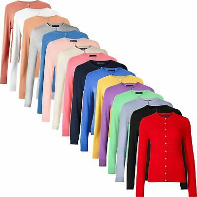 M&S Women Ladies Button Up Cardigan Jumper Knitted Round Neck Long Sleeve Tops