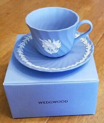 Vintage WEDGWOOD PALE BLUE JASPER WARE CUP AND SAUCER GRECIAN