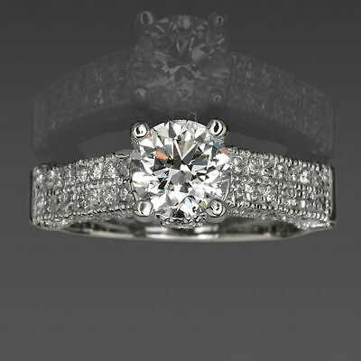 Anniversary 4 Prong 2.08 Ct Real Round Diamond Ring 14 Kt White Gold Size 6 7 8
