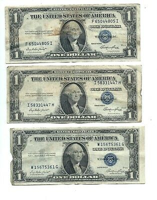 "**Lot of three (3)** - 1935-E - One Dollar ($1.00) Silver Certificates - ""VG"""