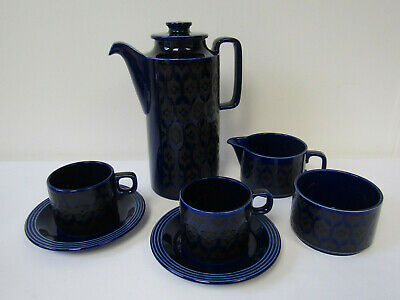 Vintage Retro 1970s Hornsea Blue Heirloom Crockery, Coffee Pot, Jug, Sugar, Cup