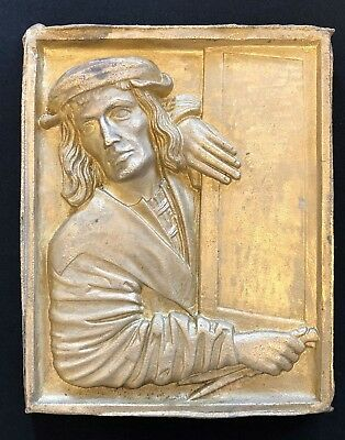 High Relief Thick Heavy Cast Brass Plaque Panel Christopher Columbus