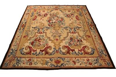 Vintage French Aubusson Tapestry Hand Made Gold 7'x7' (199cm x 201cm) C.1960