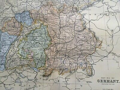 1891 Empire of Germany (Southern) Original Antique Map Bavaria Wurtemberg Hesse