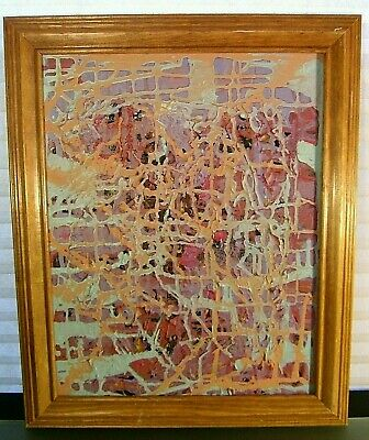 "Vintage Abstract Painting Title ""CITY GRID"" Signed Beverly Bilder"