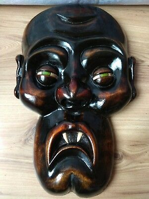 RARE Vintage Wooden Face Vampire Devil Decor Art carving MASK