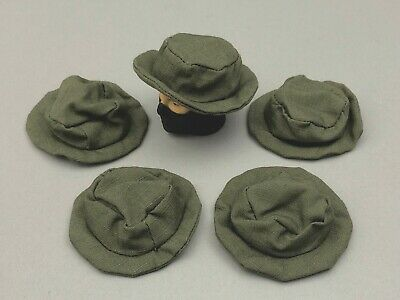 """5 21St Century Toys Green Fabric Boonie Hats For 1/6Th Scale Or 12"""" Figures"""