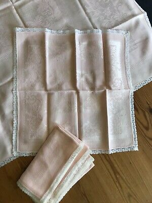 Antique Double Damask Irish Linen Tablecloth Napkins Pink With Lace