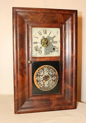 antique 1800's E.N. Welch 8 day wooden dual window reverse painted mantel clock