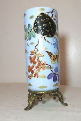 antique handmade painted porcelain figural gilt bronze Chinese cylindrical vase