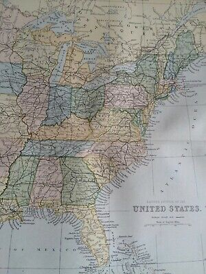 1891 United States (Eastern) Original Antique Map USA New York Kentucky Florida