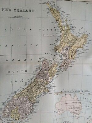 1891 New Zealand Original Antique Map Vintage Old Wall Map Political Map