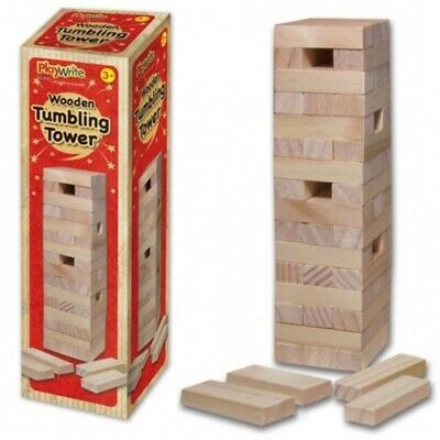 Wooden Stacking TUMBLING TOWERS like Jenga Kids Family Traditional Board Game