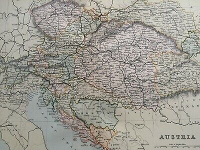 1891 Austria Original Antique Map Austro-Hungarian Empire Bosnia Tyrol Hungary