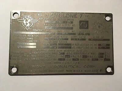 Original Data Plate Wright Cyclone 7