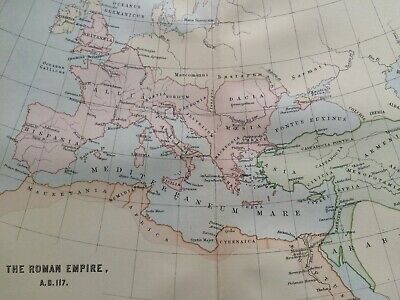 1891 The Roman Empire AD 117 Original Antique Map Vintage Old Wall Map