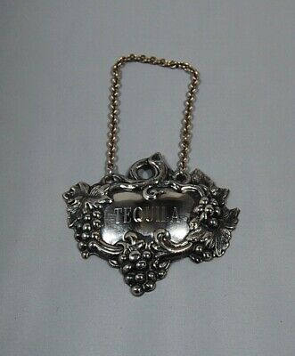 """Vintage Sterling Silver """"TEQUILA"""" Decanter Tag"""