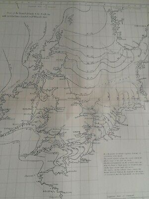 1891 Tidal Map of British Isles and North Sea Original Antique Map Vintage Old