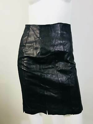 6dc159f2 NWOT GORGEOUS PRADA Italy Black Leather Pencil Skirt Small Size 40 ...
