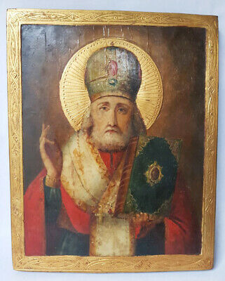 Antique 19th C Russian Wooden Icon of St.Nicholas with Gold Frame and Halo