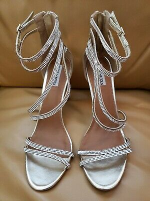 e64d49d23e2 STEVE MADDEN GOLD High Heels Strappy Metallic with Rhinestones Size 11