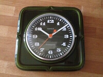 VINTAGE RETRO KIENZLE GREEN CERAMIC 1960/70's WALL CLOCK