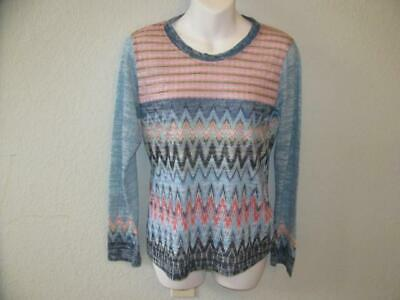 626c05f63b889 PRANA Women Zig Zag Ltweight Soft Long Sleeve Shirt Blue Pink Aztec Size  Small