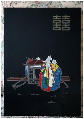 Vintage CHINESE/JAPANESE LACQUERED WALL PANEL.