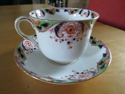 Vintage CWS Windsor elegant bone china blue, green, orange teacup &saucer. VGC