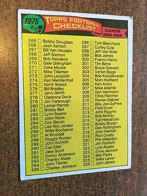 1975 Topps Football Checklist. Cards 265-396. Free Uk Postage.