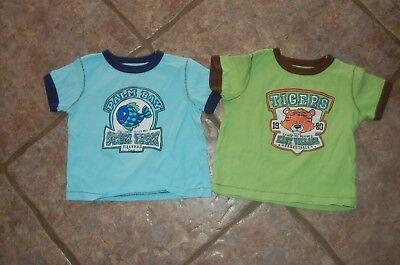 Lot of 2 Infant Boys Carter's T-shirts size 9 months  ---Fish and Tiger-TODDLER