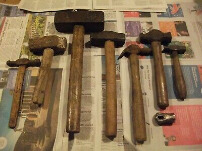 Lot of 8 Blacksmith's Antique hammers, hammer forging from forge clearance anvil