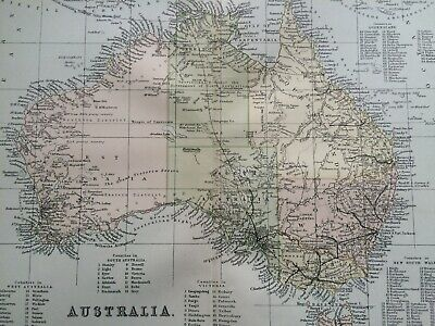 1891 Australia Original Antique Map Vintage Old Wall Map Political Map