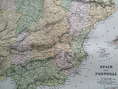 1891 Spain & Portugal Original Antique Map Vintage Old Wall map Iberia