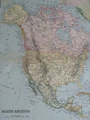 1891 North America Original Antique Map USA Canada Mexico Honduras Cuba