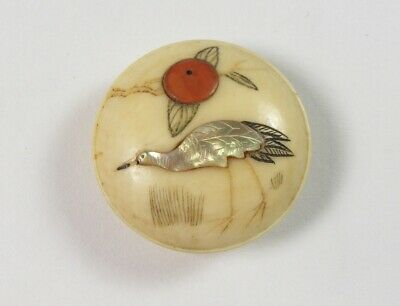 Antique Japanese Shibayama Button With Mother Of Pearl Inlay