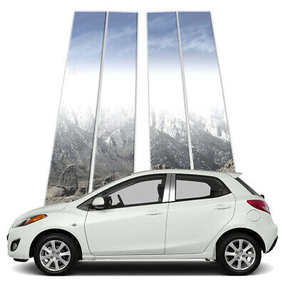 4p Stainless Pillar Post Covers fits 2013-2018 Mazda 2 by Brighter Design