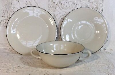 Lenox Olympia Platinum Cream Soup Bowl & Special L117 Footed Plate & Bread Plate