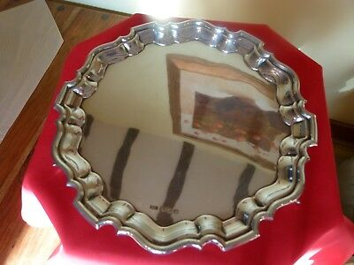 CHIPPENDALE STYLE ART DECO 1938 SOLID SILVER SALVER / TRAY.Just under 520 grams.
