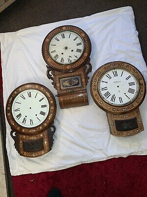 Victorian Caledonian Clock Co drop box wall clock with two extra clock cases