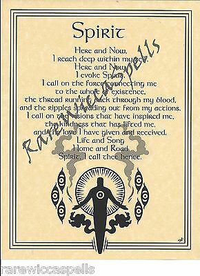 SPIRIT ELEMENT WICCA Book of Shadows Pagan Occult Spell 1pg parchment