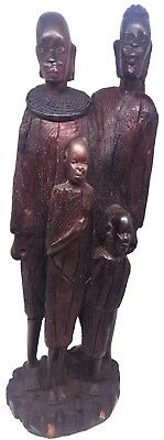 African Family of Four Hand-Carved Dark Wood Statue Antique Authentic ~ 12.5 in.