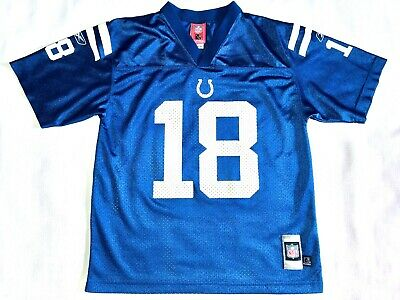 9023d9b0631 Peyton Manning Colts #18 Blue Reebok NFL Players Football Jersey Youth Large