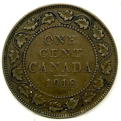CANADA -1918  LARGE ONE CENT COLLECTIBLE BRONZE COIN~ King George V. KM 21