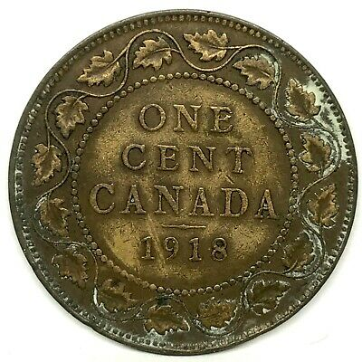 1918 CANADA  LARGE ONE CENT BRONZE COIN~ King George V. KM#21