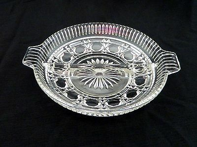 Indiana Glass Windsor / Royal Brighton Pattern Handled Round Divided Relish Tray