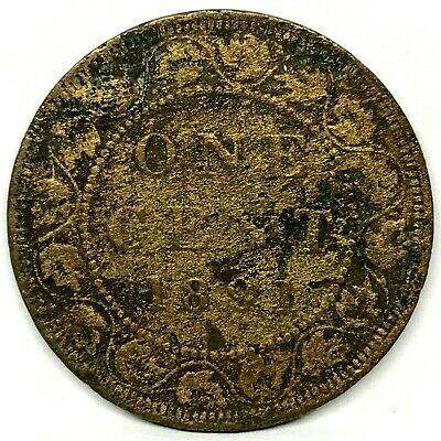 1891- Large Date-  Canada One 1 Cent Victoria Large Bronze Coin . Rare !